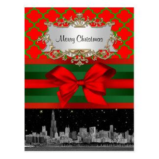 Horizonte de Chicago Navidad verde roja de Quatre Tarjetas Postales