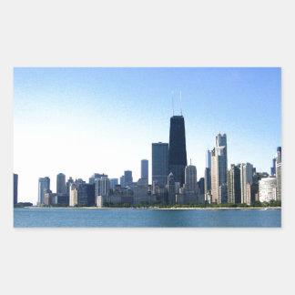 Horizonte de Chicago Pegatina Rectangular