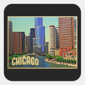 Horizonte de Chicago Pegatina Cuadrada