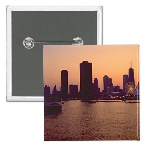 Horizonte de Chicago Pin Cuadrada 5 Cm