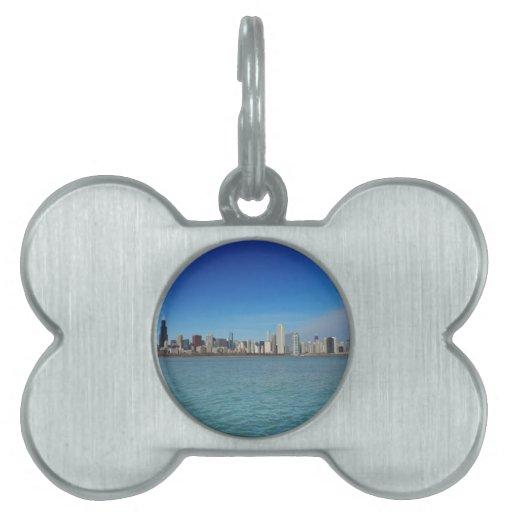 Horizonte de Chicago Placa De Mascota