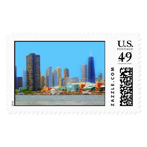 Horizonte de Chicago que ofrece el embarcadero de Sellos