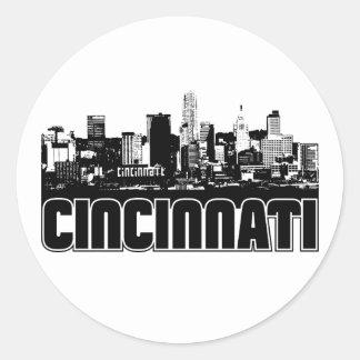 Horizonte de Cincinnati Etiqueta Redonda