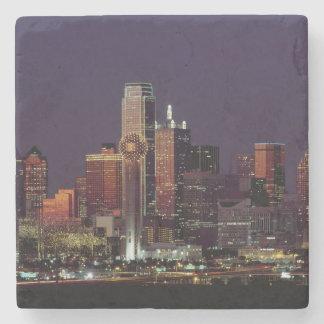 Horizonte de Dallas en la noche Posavasos De Piedra