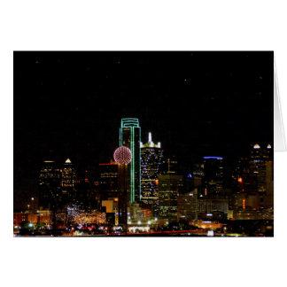 Horizonte de Dallas en la noche Tarjetas