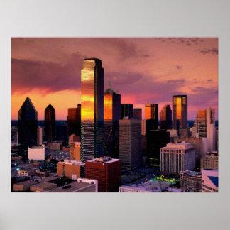 Horizonte de Dallas en la puesta del sol Impresiones