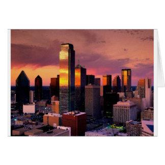 Horizonte de Dallas en la puesta del sol Tarjeta