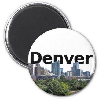 Horizonte de Denver con Denver en el cielo Imán Redondo 5 Cm