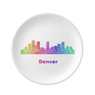 Horizonte de Denver del arco iris Platos De Cerámica