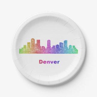 Horizonte de Denver del arco iris Platos De Papel