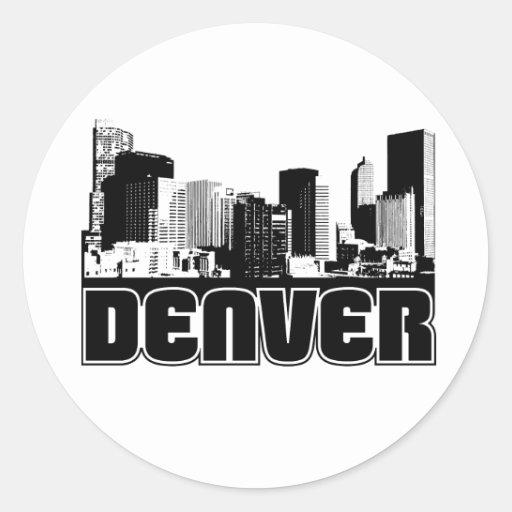 Horizonte de Denver Pegatina Redonda