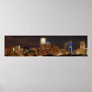 Horizonte de Denver por noche Póster