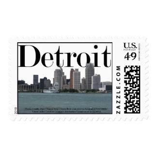 Horizonte de Detroit con Detroit en el cielo Sellos