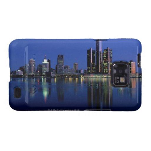 Horizonte de Detroit en la noche Galaxy S2 Carcasas