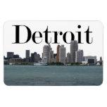 Horizonte de Detroit MI con Detroit en el cielo Imán Flexible