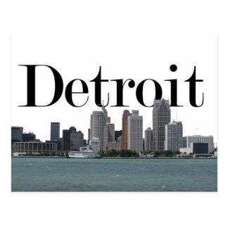 Horizonte de Detroit MI con Detroit en el cielo Tarjetas Postales