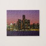 Horizonte de Detroit, Michigan en la noche Puzzle Con Fotos
