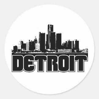 Horizonte de Detroit Etiquetas Redondas