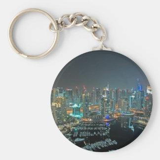 Horizonte de Dubai, United Arab Emirates en la Llavero Redondo Tipo Pin