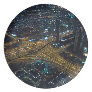 Horizonte de Dubai, United Arab Emirates en la Platos