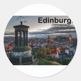 Horizonte de Escocia Edimburgo (St.K) Pegatina Redonda
