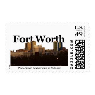 Horizonte de Fort Worth Tejas con Fort Worth en el Estampilla