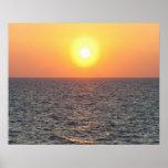Horizonte de Grecia, Mar Egeo en la puesta del sol Póster