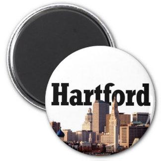 """Horizonte de Hartford CT con """"Hartford"""" en el ciel Imán Redondo 5 Cm"""
