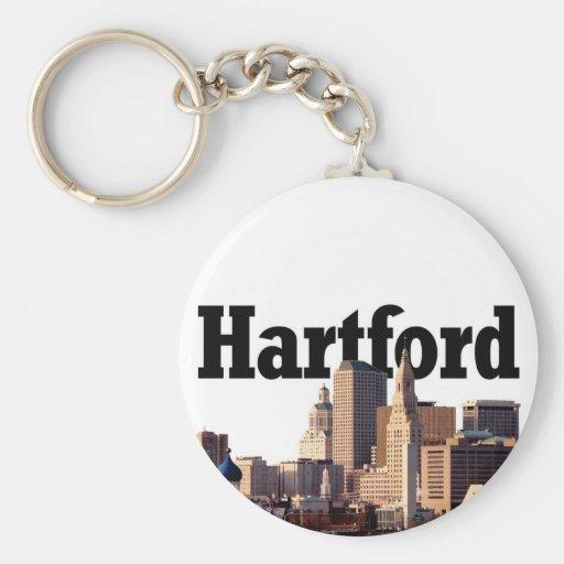 """Horizonte de Hartford CT con """"Hartford"""" en el ciel Llavero"""