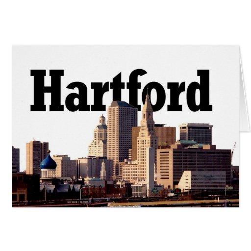"""Horizonte de Hartford CT con """"Hartford"""" en el ciel Felicitacion"""