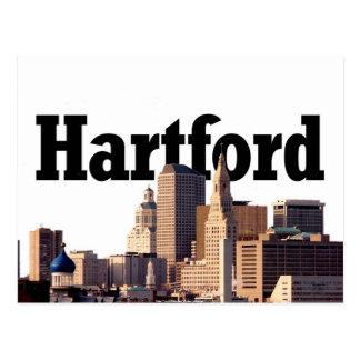 """Horizonte de Hartford CT con """"Hartford"""" en el ciel Tarjeta Postal"""
