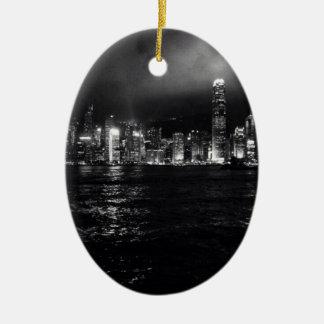 Horizonte de Hong Kong Adorno Navideño Ovalado De Cerámica