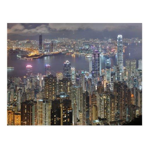 Horizonte de Hong Kong en la postal de la noche