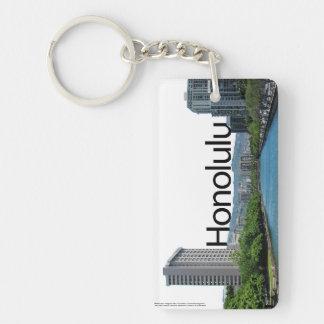 Horizonte de Honolulu, Hawaii con Honolulu en el c Llavero Rectangular Acrílico A Doble Cara