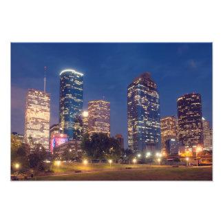 Horizonte de Houston en la noche Impresion Fotografica