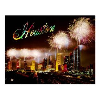 Horizonte de Houston, Tejas con los fuegos artific Postal