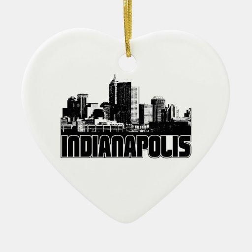 Horizonte de Indianapolis Adorno Navideño De Cerámica En Forma De Corazón