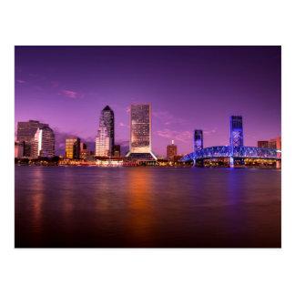 Horizonte de Jacksonville la Florida en la noche Tarjeta Postal