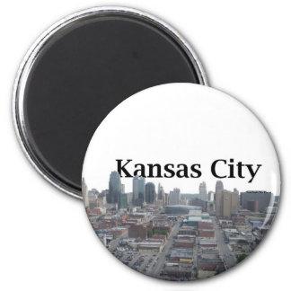 Horizonte de Kansas City con Kansas City en el cie Imán Redondo 5 Cm
