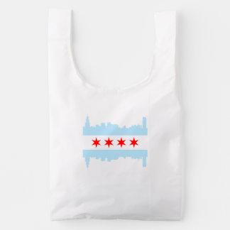 Horizonte de la bandera de Chicago Bolsa Reutilizable