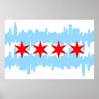 Horizonte de la bandera de Chicago Póster