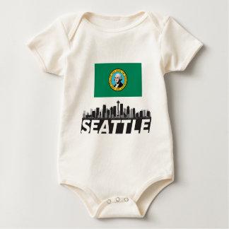 Horizonte de la bandera de Seattle Washington Mameluco De Bebé