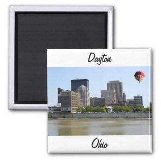 Horizonte de la ciudad de Dayton Ohio Imán Cuadrado