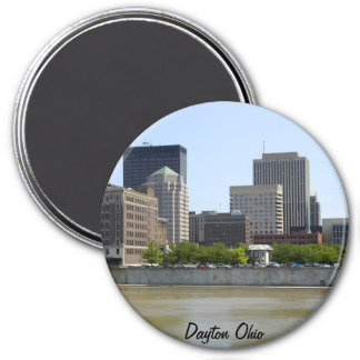 Horizonte de la ciudad de Dayton Ohio Imán Redondo 7 Cm
