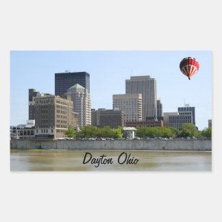Horizonte de la ciudad de Dayton Ohio Pegatina Rectangular