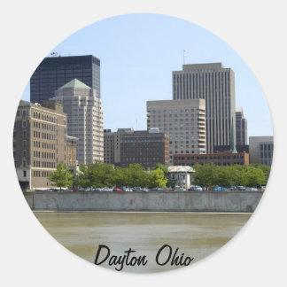 Horizonte de la ciudad de Dayton Ohio Pegatina Redonda
