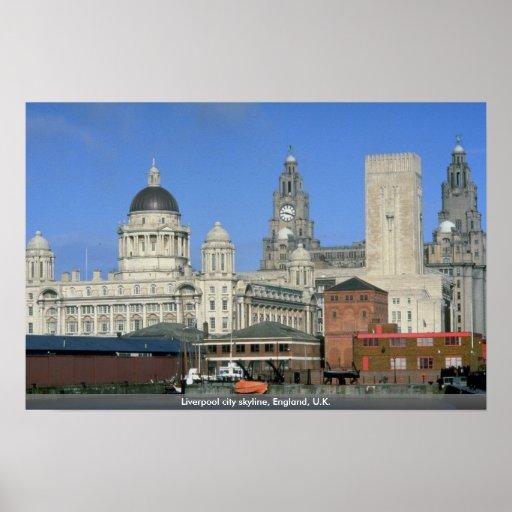 Horizonte de la ciudad de Liverpool, Inglaterra, Póster