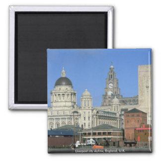 Horizonte de la ciudad de Liverpool, Inglaterra, R Imán Cuadrado