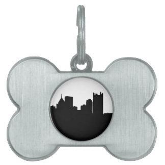 Horizonte de la ciudad de Pittsburgh Placas De Nombre De Mascota