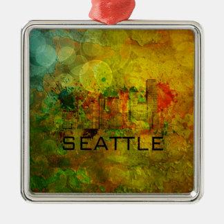 Horizonte de la ciudad de Seattle en el fondo Adorno Navideño Cuadrado De Metal